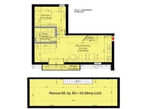 Apartament de vanzare in Sibiu - 2 camere si pod mare - la Vila