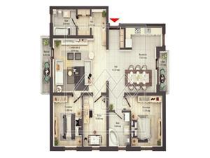 Apartament de vanzare in Sibiu - 3 camere - 2 balcoane