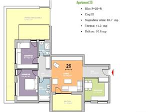 Penthouse de vanzare in Sibiu -3 camere,balcon + o terasa de 41.30 mp