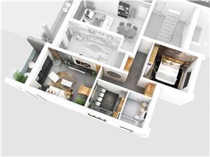 Apartament 2 camere, bucatarie separata, balcon cu sticla securizata