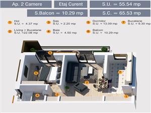 Apartament concept nou - bloc cu lift, parcare subterana si pivnita