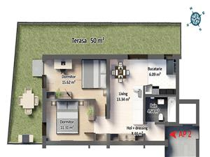 Apartament 3 camere decomandat cu terasa de 50 mp si pivnita
