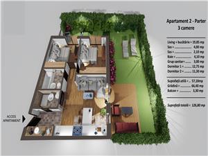 Apartament 3 camere de vanzare in Sibiu - balcon si gradina de 66 mp